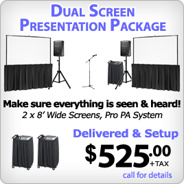 Double Screens with Projectors & Professional Sound System