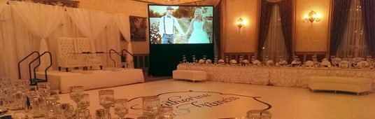 Rear Projection System without Dress-Kit for Wedding Reception
